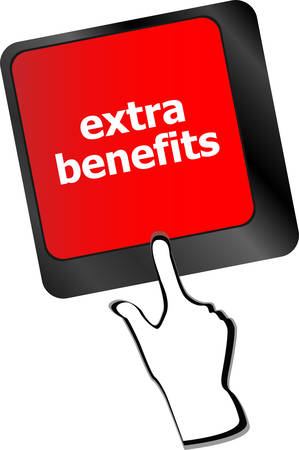 share prices: extra benefits button on keyboard - business concept vector