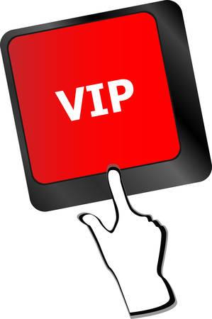 VIP written button keys on computer keyboard vector Vector