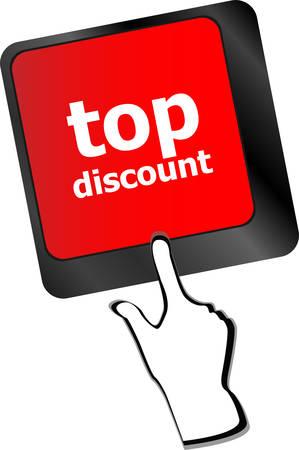computer key: top discount concept sign on computer key vector