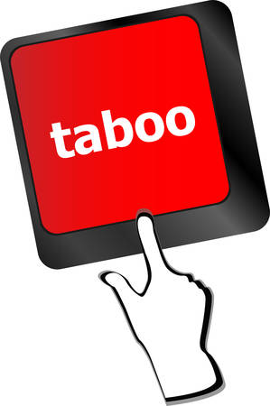 taboo: Computer keys spell out the word taboo vector