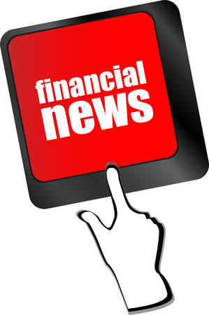 exceeds: financial news button on computer keyboard vector Illustration