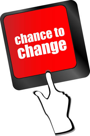 better chances: chance to change key on keyboard showing business success vector Illustration