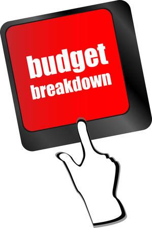 installment: budget breakdown words on computer pc keyboard vector