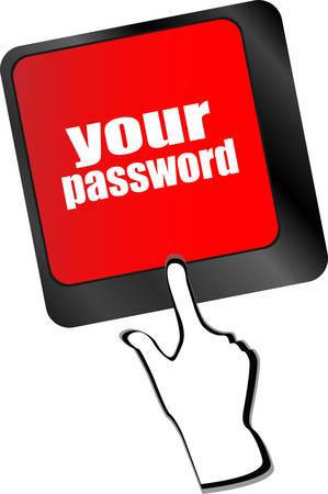 protecting your business: su bot�n de la contrase�a en el teclado - vector concepto de seguridad