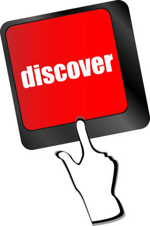 discover: word discover on computer keyboard key vector