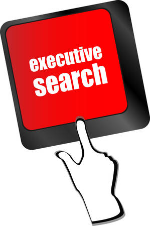 executive search: executive search button on the keyboard close-up, raster vector