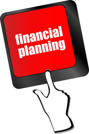 financial emergency: keyboard key with financial planning button vector