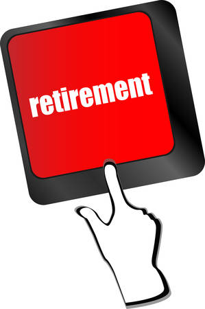 global retirement: retirement for investment concept with a button on computer keyboard  Illustration