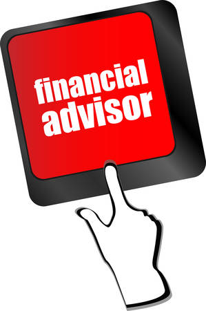 advisor: keyboard key with financial advisor button
