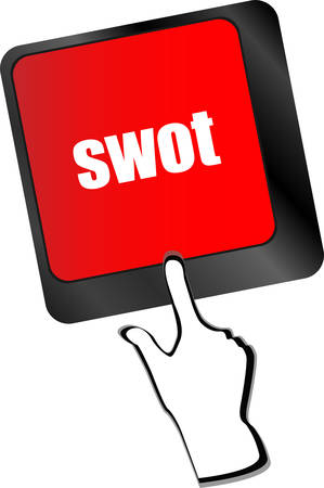 SWOT word on computer keyboard key button  Vector