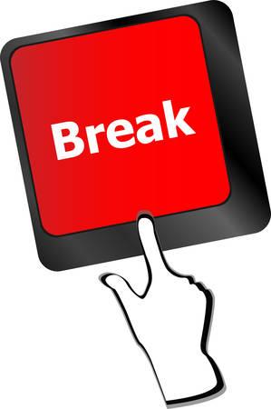 big break: Keyboard with break button, business concept