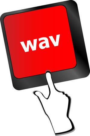 wav: wav word on keyboard keys button