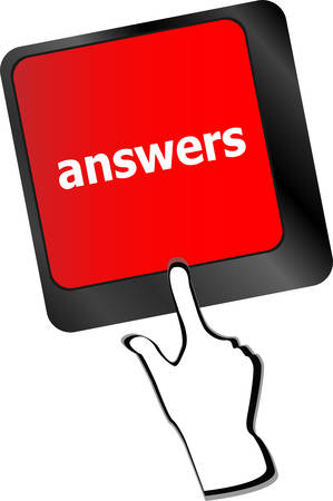 answers concept: get answers concept on the modern keyboard keys