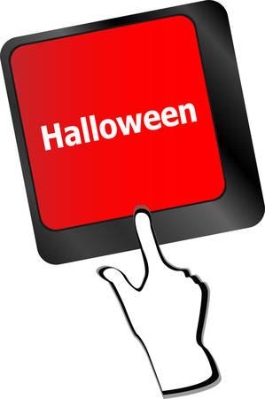 keys isolated: Clave de Halloween en las teclas del teclado del ordenador aislado