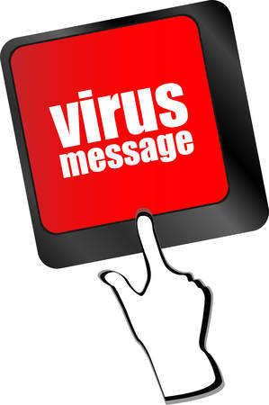 malicious software: Computer keyboard with virus message key