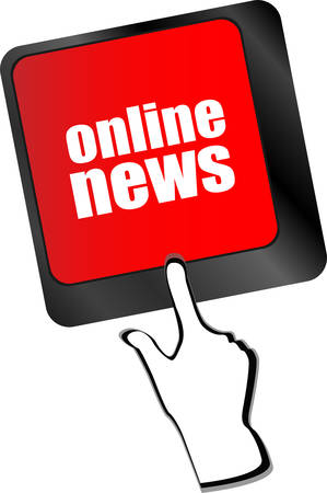 online news: online news word on black keyboard and green button vector