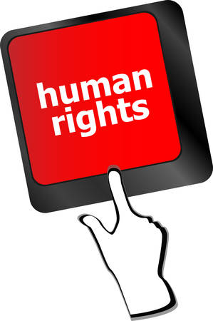 human rights: arrow button with human rights word on it  Illustration