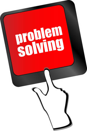 solving: problem solving button on computer keyboard key  Illustration