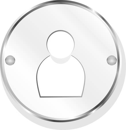 metallic button: User group icon - metallic button with people sillhouete vector