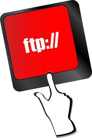 ftp: Computer keyboard with ftp key, technology background vector