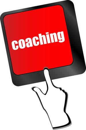 coaching: Coaching Bouton sur Moderne Clavier d'ordinateur avec Word sur le coaching Il vecteur