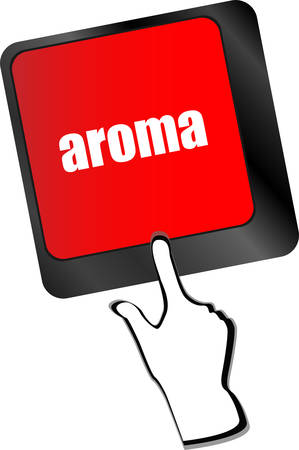 aroma: Button with aroma on Computer Keyboard key vector