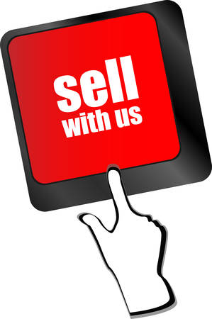 equities: sell with us message on keyboard key, to sell something or sell concept, vector Illustration