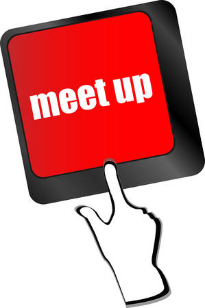 executive search: Meeting (meet up) sign button on keyboard with soft focus vector