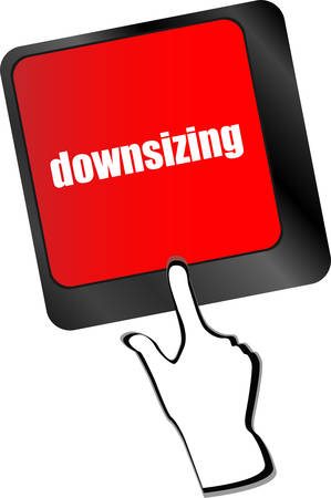 downsizing: cloud icon with downsizing word on computer keyboard key vector