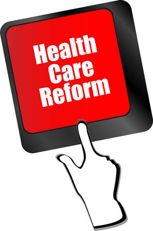 computer health: health care reform shown by health computer keyboard button vector