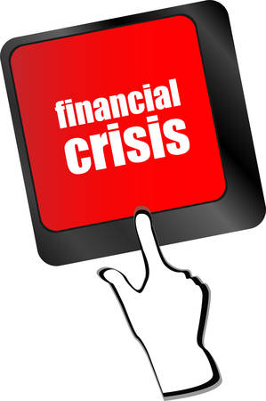 computer crash: financial crisis key showing business insurance concept, business concept vector