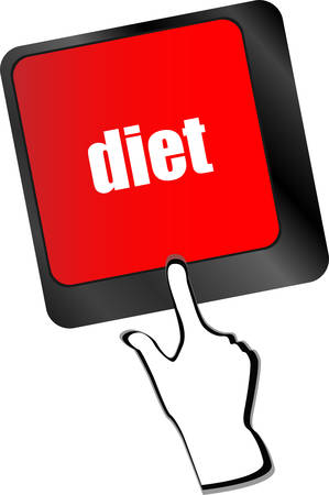 pc health: Health diet button on computer pc keyboard vector