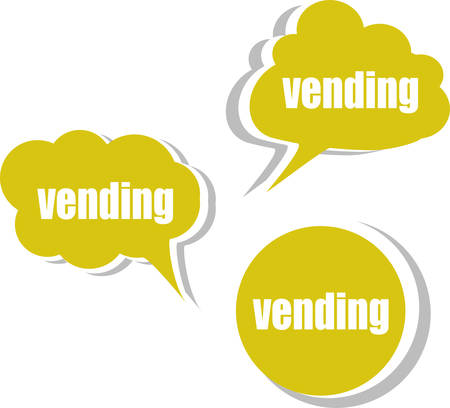 distribution automatique: distributeurs mot sur moderne mod�le de conception de la banni�re. Jeu d'autocollants, �tiquettes, tags, nuages Illustration