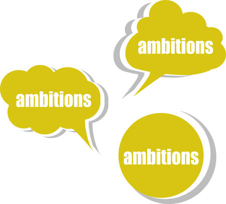 ambitions: ambitions word on modern banner design template. set of stickers, labels, tags, clouds