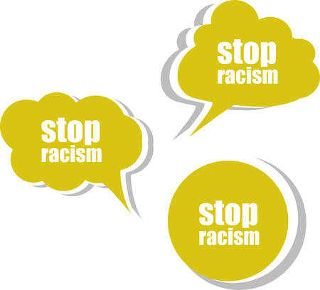 racism: stop racism word on modern banner design template. set of stickers, labels, tags, clouds Illustration