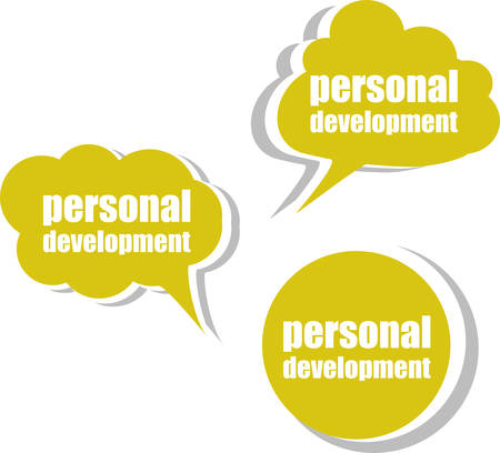 personal development: personal development, Set of stickers, labels, tags. Template for infographics Illustration