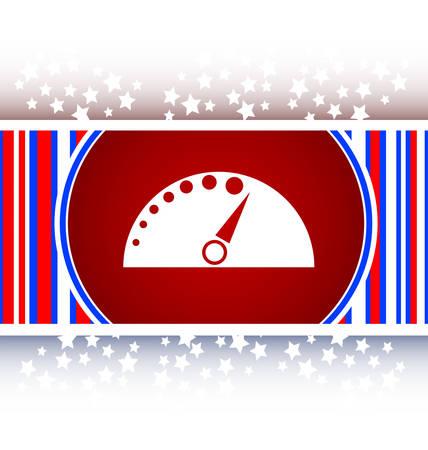 tacometro: tac�metro del autom�vil en el bot�n Web (icono) aislado en blanco Vectores