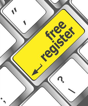 computer key: free register computer key showing internet concept Illustration