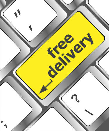 keyboard button: free delivery key on laptop keyboard button Illustration