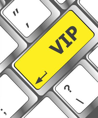 teclado de computadora: VIP escrito sobre las teclas en el teclado de computadora Vectores
