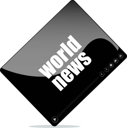 world news: Video player for web with world news word Illustration