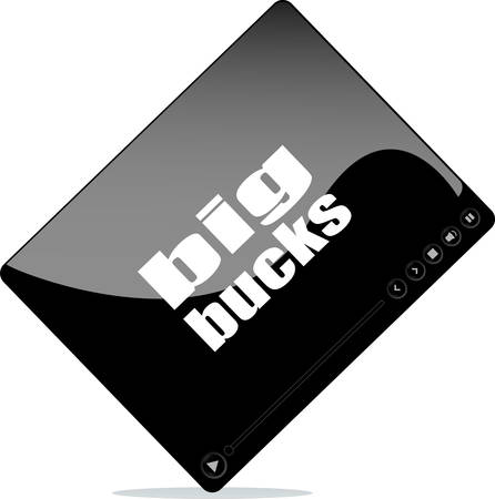 bucks: Video player for web with big bucks word Illustration