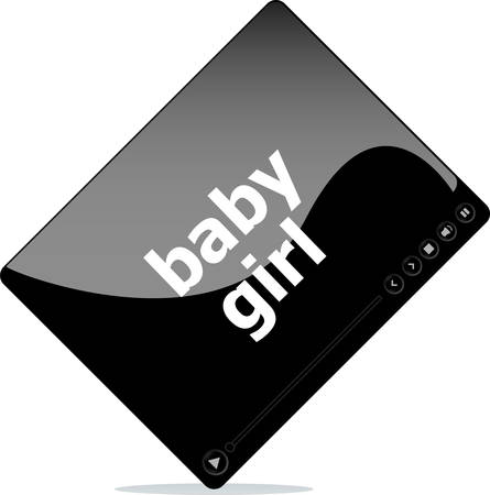 it girl: Video movie media player with baby girl word on it Illustration