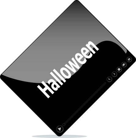 windows media video: V�deo pel�cula reproductor multimedia con Halloween palabra en �l