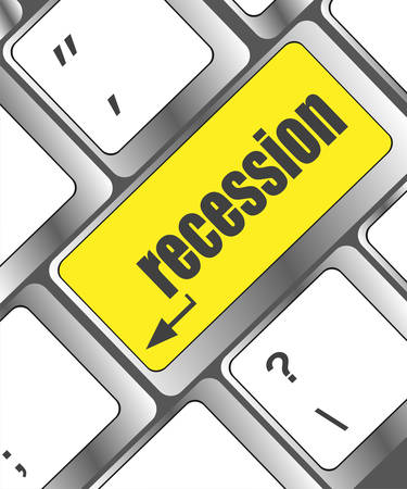 recession: recession button on computer keyboard key Illustration