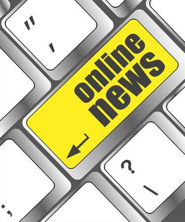 online news: online news button on computer keyboard key Illustration