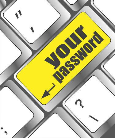 protecting your business: su bot�n de la contrase�a en el teclado - concepto de seguridad Vectores