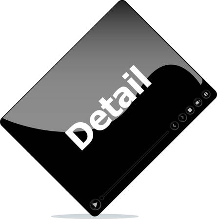 detail: Video media player for web with detail word