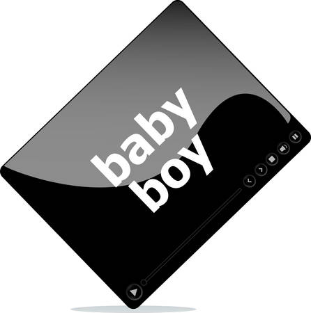 windows media video: Video movie media player with baby girl word on it Illustration