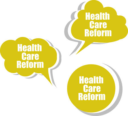 health reform: health care reform, Set of stickers, labels, tags. Template for infographics Illustration